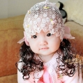 ht - bow 13 ตาข่ายคลุมผมเด็ก  สีชมพูติดปอยผมยาว ประดับโบว์