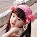 ht - bow 19 ผ้าคาดผมเด็กหน้าม้า ผมข้างยาว สีชมพูประดับโบว์ข้างสีชมพู