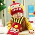 ht - cap 74set หมวกไหมพรมเด็กเล็ก หุ่นยนต์ Robot +ผ้าพันคอ