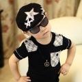 ht - cap 75B หมวกเด็ก Beret ลายดาว สีดำ