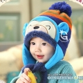 ht - cap 83B หมวกไหมพรมเด็กเล็ก เจ้าลิงน้อย สีฟ้า