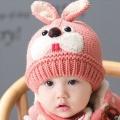 ht - cap 84P หมวกไหมพรมเด็กเล็ก กระต่ายน้อย สีชมพู