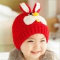ht - cap 84R หมวกไหมพรมเด็กเล็ก กระต่ายน้อย สีแดง