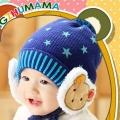 ht - cap 85B หมวกไหมพรมเด็กเล็ก ปิดหูมีสายรัดคาง สีน้ำเงิน