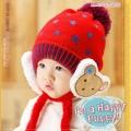 ht - cap 85R หมวกไหมพรมเด็กเล็ก ปิดหูมีสายรัดคาง สีแดง