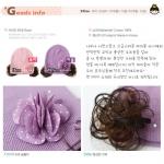 ht - flower 18P หมวกผ้ายืดสาวน้อยประดับดอกไม้ มีปอยผม สีชมพู